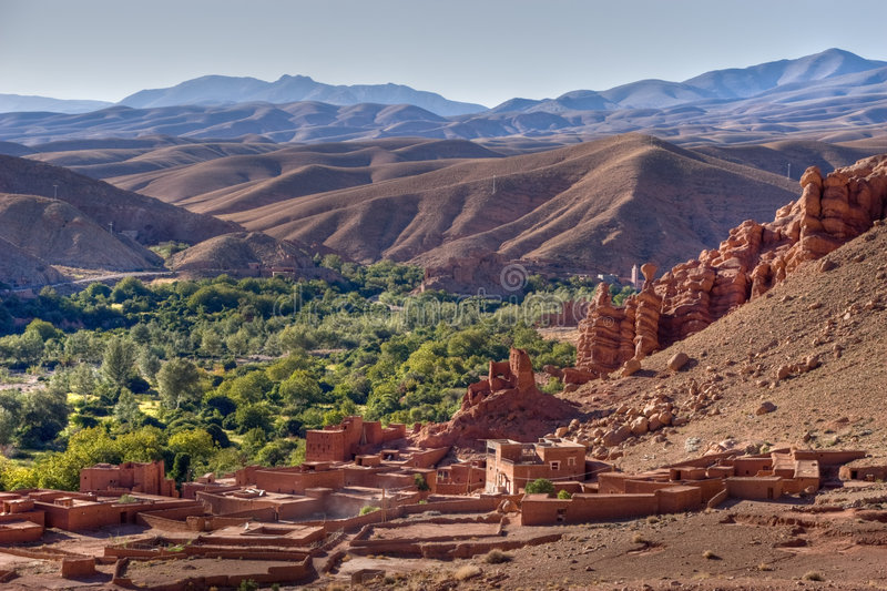 Morocco village in dades valle stock photo