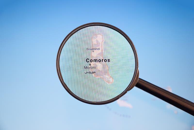 Moroni, Comores carte u politique d'e photographie stock