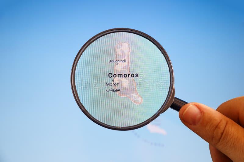 Moroni, los Comoro correspondencia pol?tica foto de archivo libre de regalías