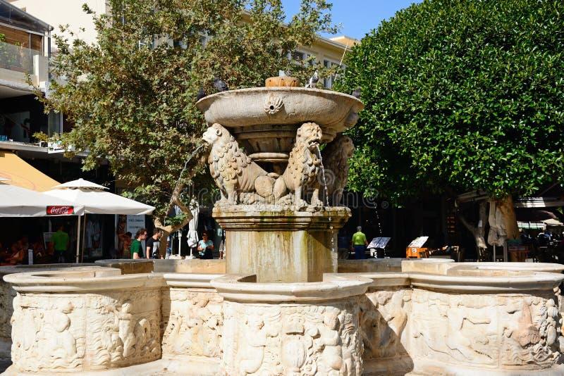Morosini-Brunnen, Iraklio stockbilder