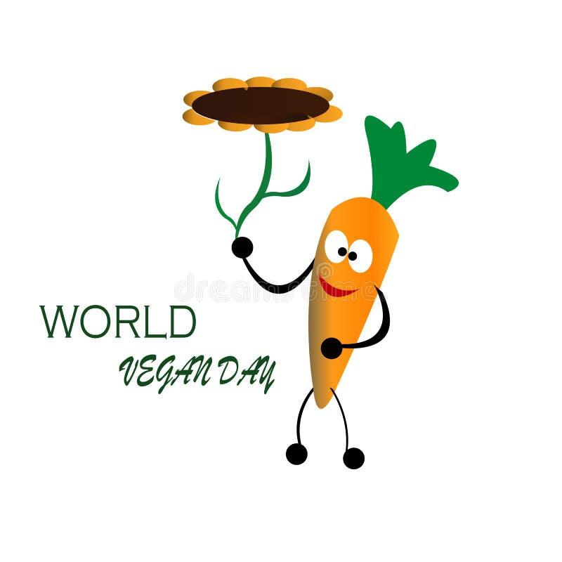 Moroten för beröm för världsstrikt vegetariandagen kommer med blommasolbegrepp royaltyfri illustrationer