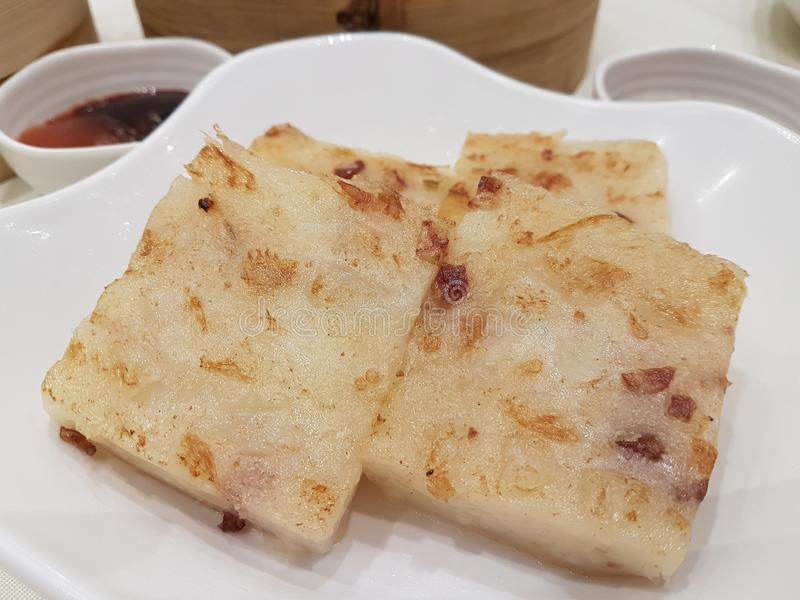Morotkakan är berömd Hong Kong mat arkivbilder