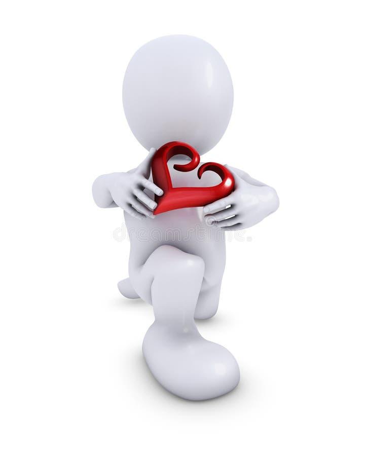 Morph l'homme avec le coeur illustration libre de droits
