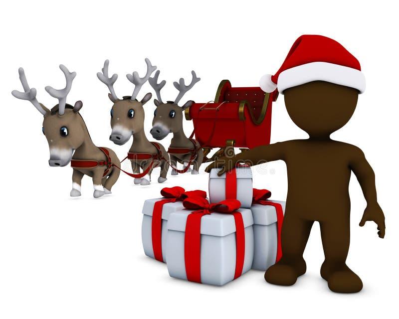 Morph l'uomo Santa e la renna illustrazione di stock
