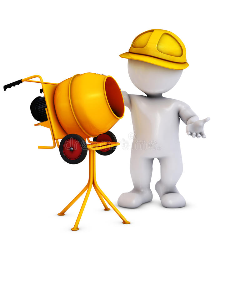 Morph man builder with cement mixer. 3D Render of an Morph man builder with cement mixer stock illustration