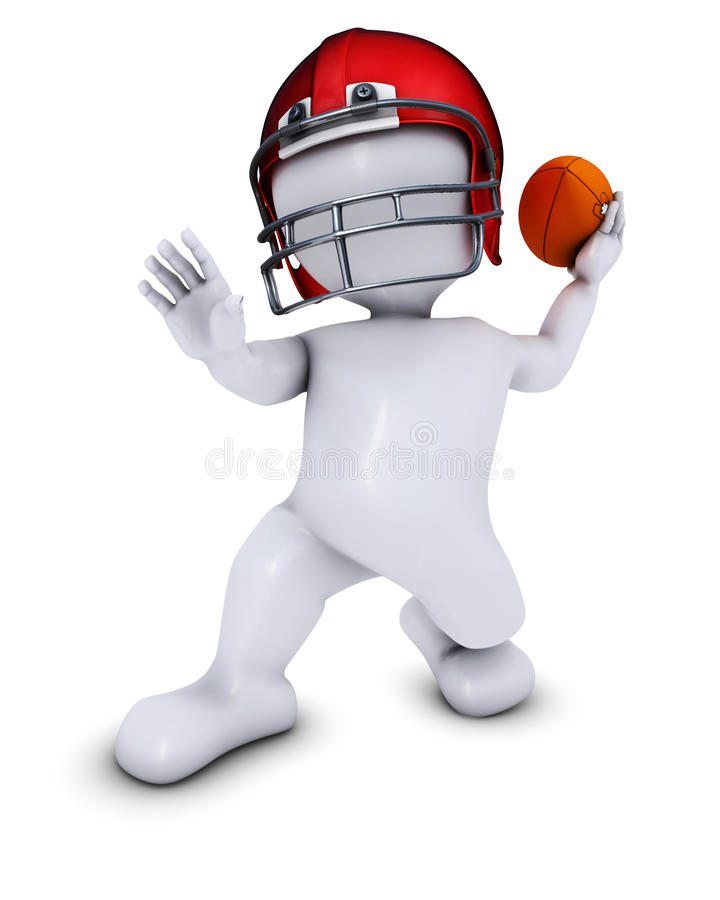 Morph Man playing american football. 3D Render of Morph Man playing american football vector illustration