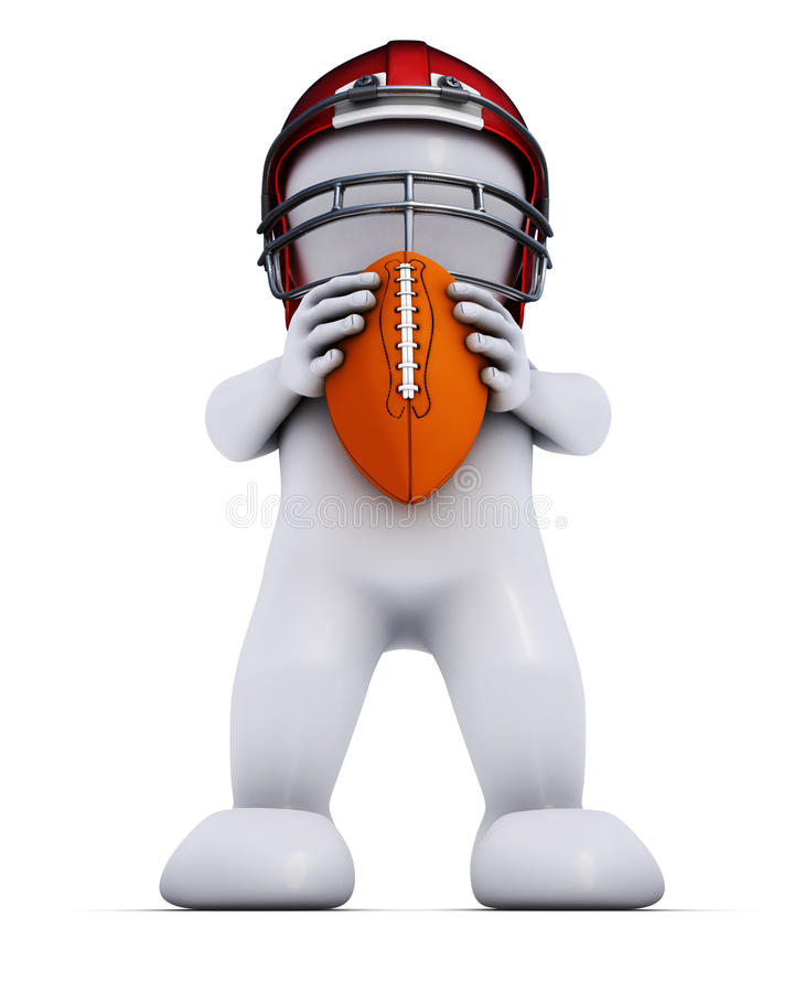 Morph Man playing american football. 3D Render of Morph Man playing american football stock illustration