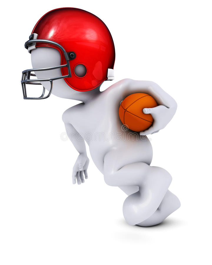 Morph Man playing american football. 3D Render of Morph Man playing american football royalty free illustration