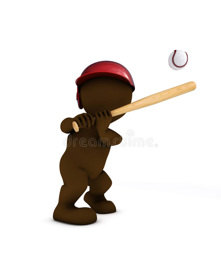 Morph man playing baseball. 3d render of morph man playing baseball stock illustration