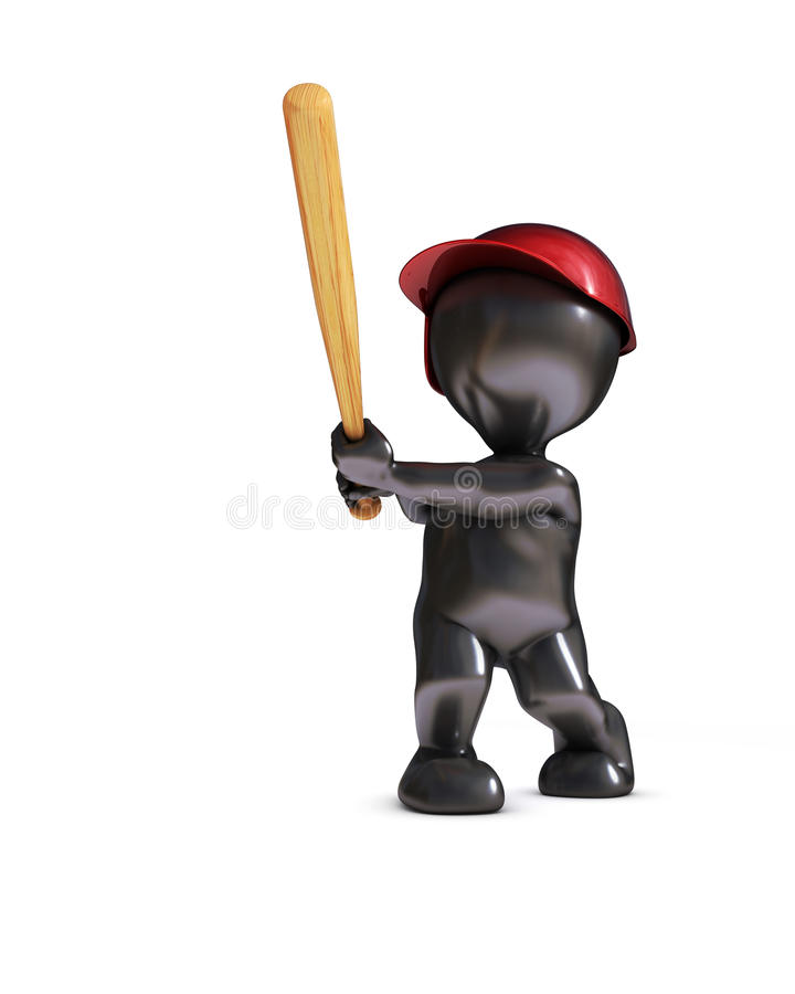 Morph man playing baseball. 3d render of morph man playing baseball royalty free illustration