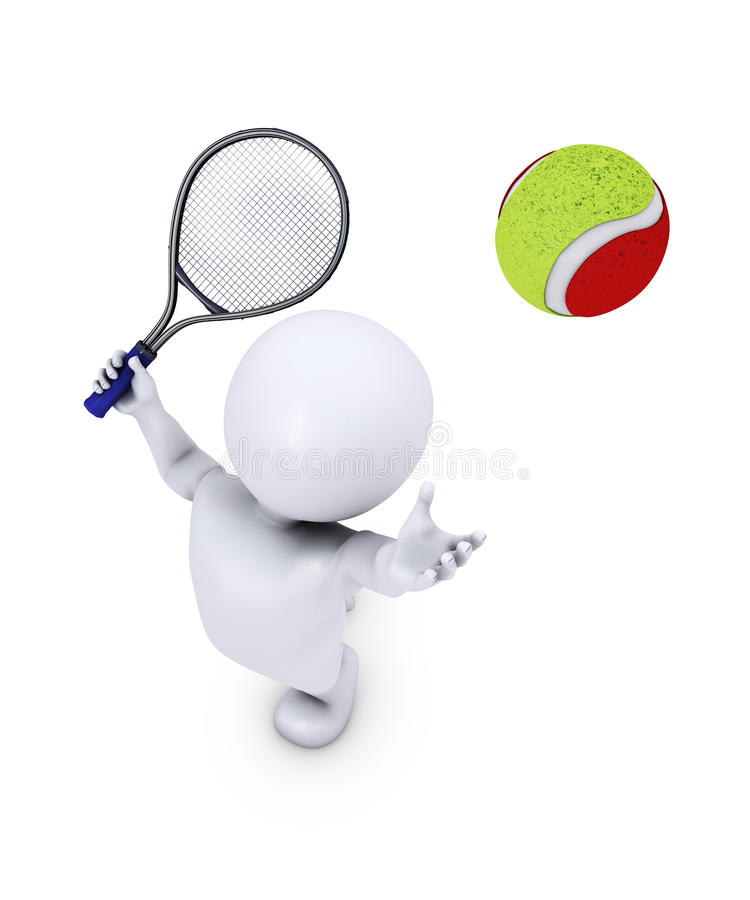 Morph Man Playing Tennis. 3D Render of Morph Man Playing Tennis vector illustration
