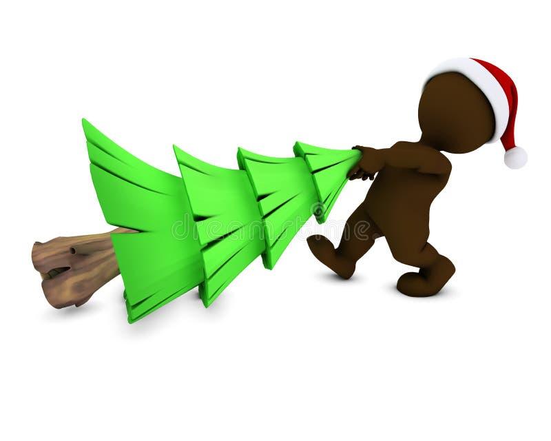 Morph o homem com árvore de Natal ilustração do vetor