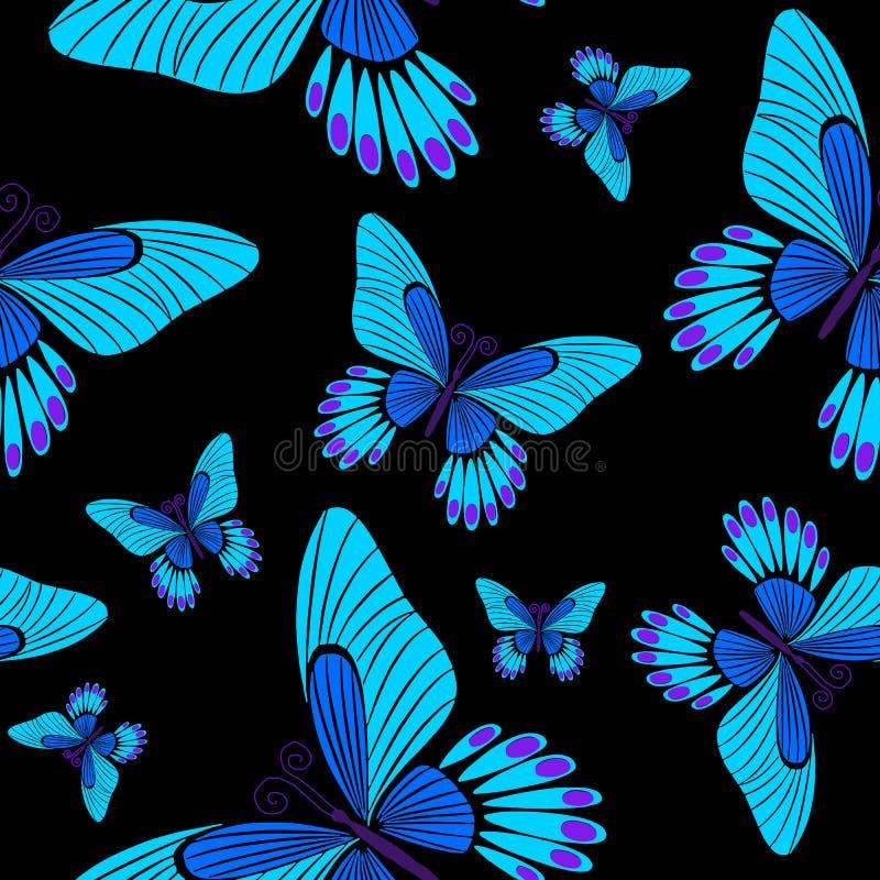 Morpho-Schmetterlings-nahtloses Oberflächenmuster-blaues Schmetterlings-Wiederholungs-Muster für Textilentwurf, Gewebe-Drucken, M vektor abbildung