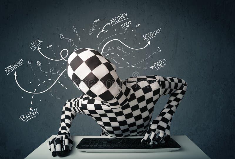 Morphsuit-Hacker mit weißer gezeichneter Linie Gedanken