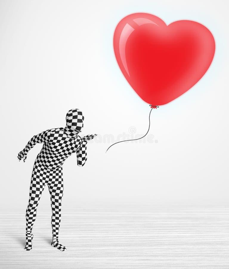 morpsuit看气球的身体衣服的逗人喜爱的人塑造了心脏 库存例证