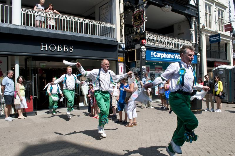 Morris Dancers, Cheshire, Reino Unido fotografia de stock royalty free