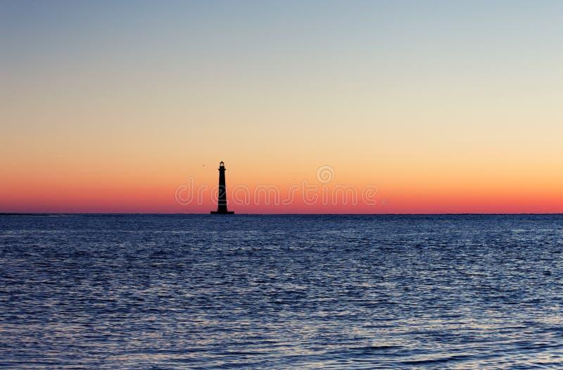 Morris Island Lighthouse en la salida del sol fotografía de archivo