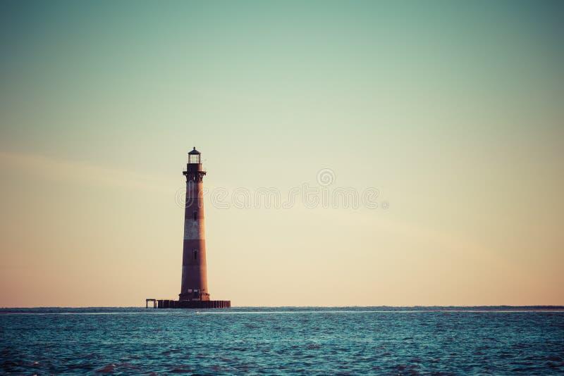 Morris Island Lighthouse en la salida del sol imagen de archivo