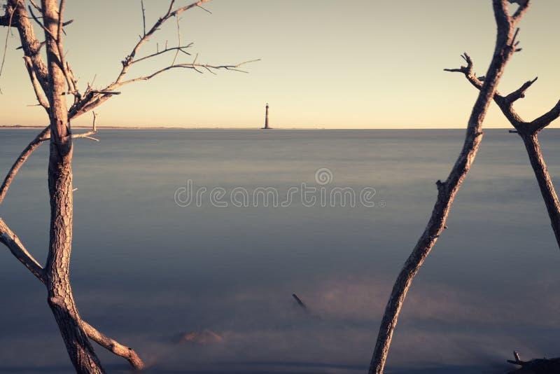 Morris Island Lighthouse en la salida del sol fotografía de archivo libre de regalías