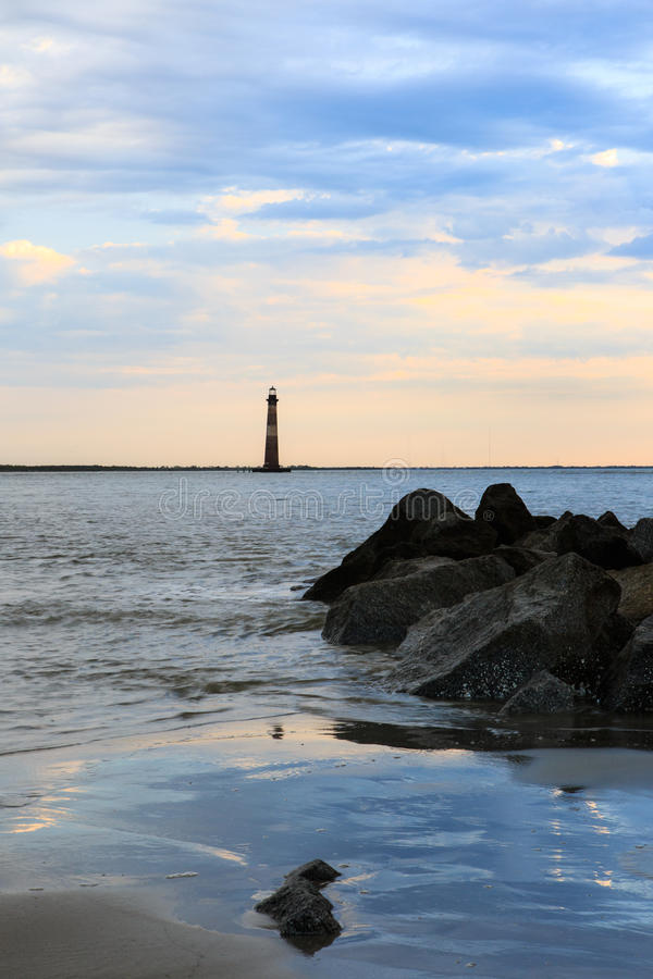 Morris Island Lighthouse South Carolina imagen de archivo