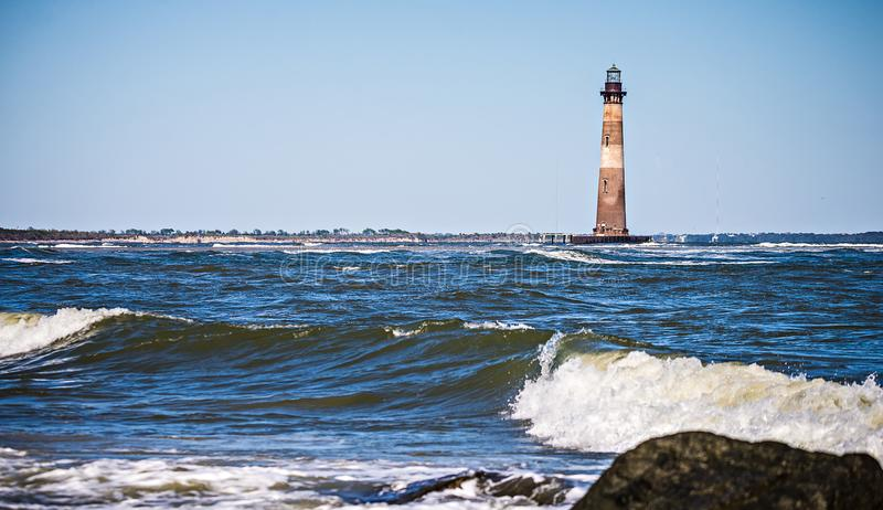 Morris island lighthouse on a sunny day royalty free stock image