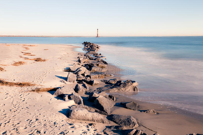 Morris Island Lighthouse at sunny morning stock image