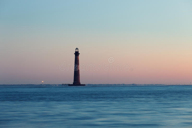 Morris Island Lighthouse at sunny morning royalty free stock photography