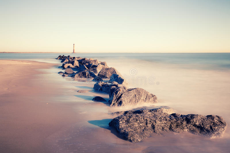 Morris Island Lighthouse at sunny morning royalty free stock images