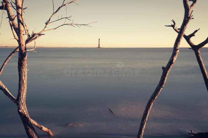 Morris Island Lighthouse at sunrise royalty free stock photography