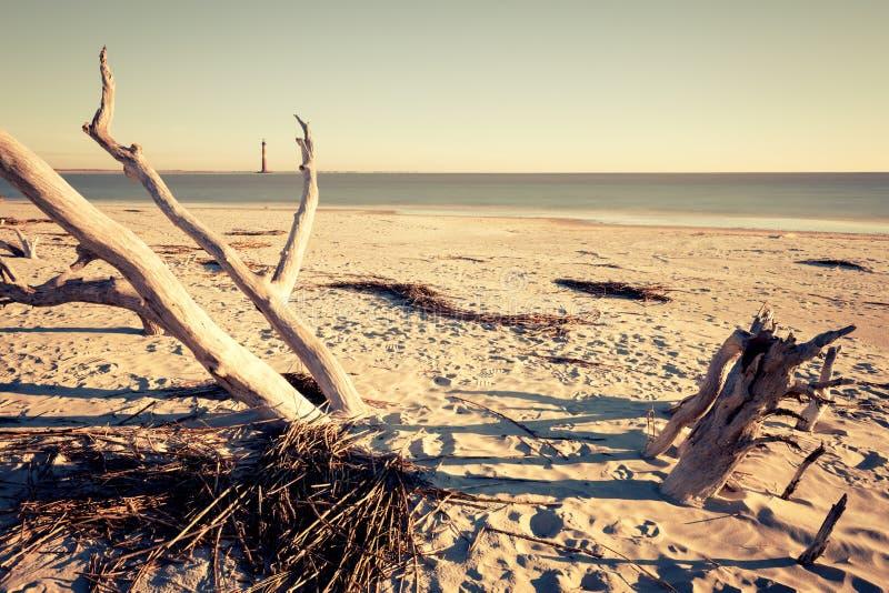 Morris Island Lighthouse at sunrise stock photo