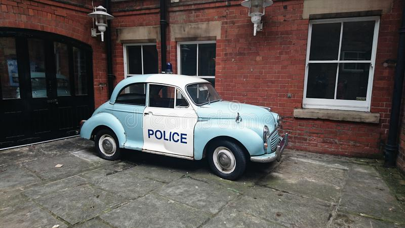 Morris Minor Police Car. A wonderful vintage police car parked outside the Galleries of Justice in Nottingham royalty free stock photography