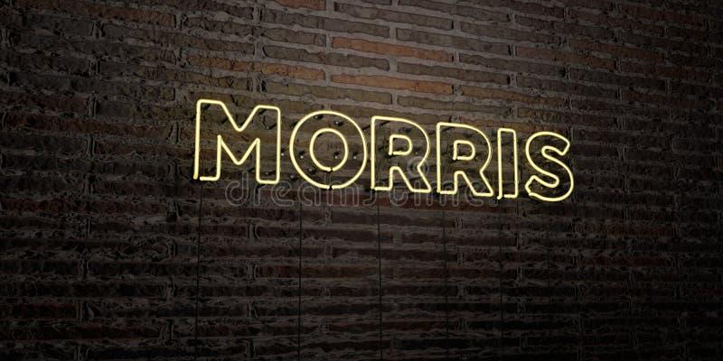 MORRIS - realistische Leuchtreklame auf Backsteinmauerhintergrund - 3D übertrug freies Archivbild der Abgabe lizenzfreie abbildung