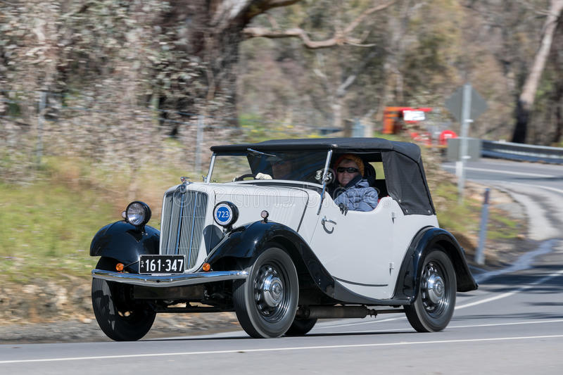 1938 Morris 8/40 Roadster. Adelaide, Australia - September 25, 2016: Vintage 1938 Morris 8/40 Roadster driving on country roads near the town of Birdwood, South stock photography