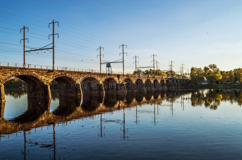 Morrisville†'Trenton linia kolejowa most zdjęcie royalty free