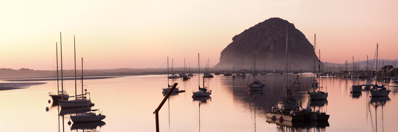 Morro bay at dusk royalty free stock photos