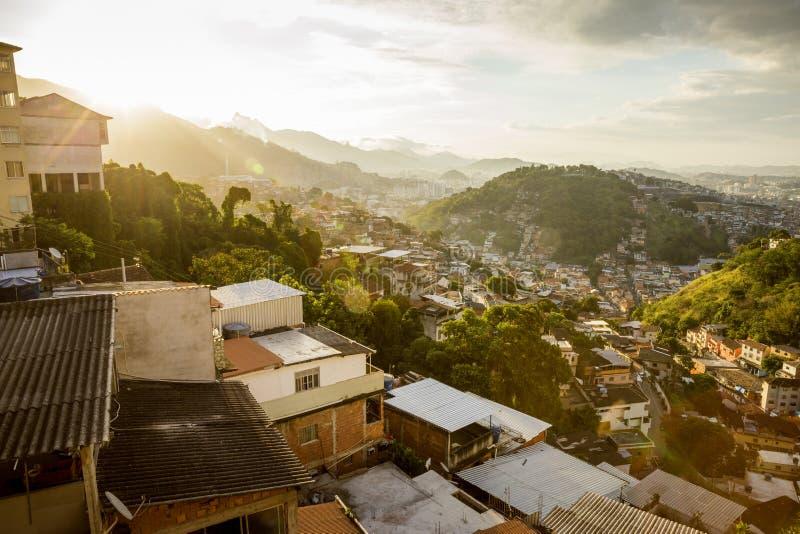Morro da克罗阿favela在里约热内卢圣特雷莎区  库存图片