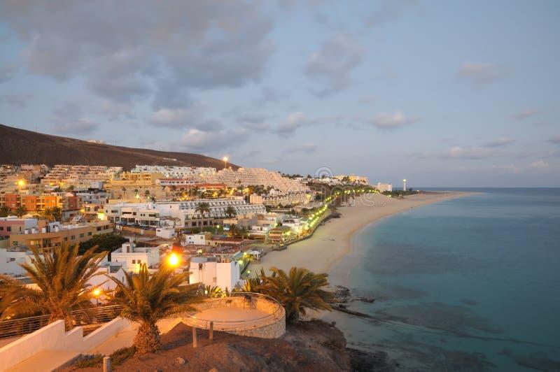 Morro Jable, at dusk Fuerteventura, Spain. Morro Jable, Canary Island Fuerteventura, Spain royalty free stock images