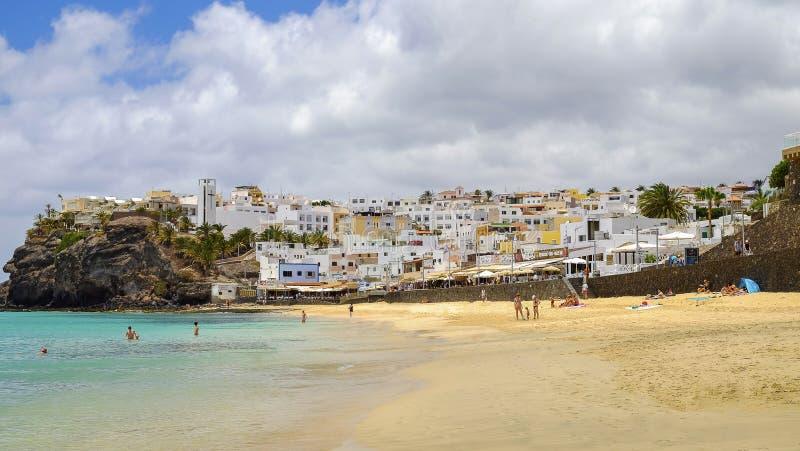 MORRO JABLE, FUERTEVENTURA, SPAIN - JUNE 14, 2017: Beach Morro J. MORRO JABLE, FUERTEVENTURA, SPAIN - JUNE 14, 2017: View on the beach Playa de Matorral and royalty free stock images