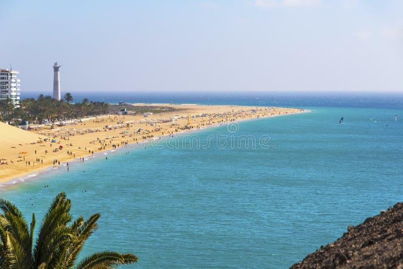 Morro Jable strand, Fuerteventura ö, kanariefågelöar, Spanien arkivfoton