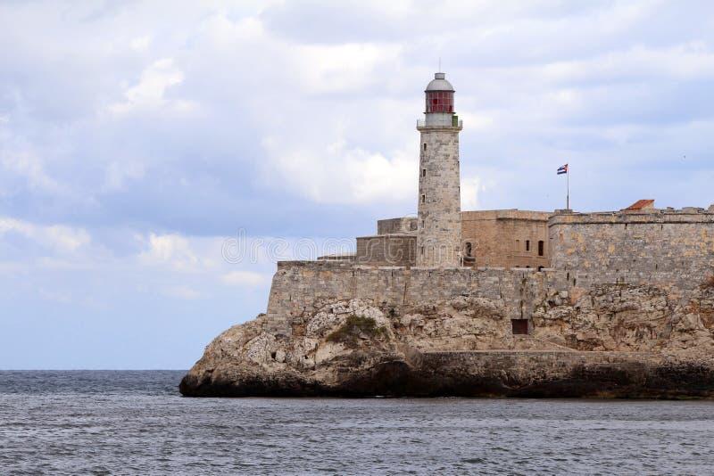 Morro slottfyr i Havana Bay arkivbilder