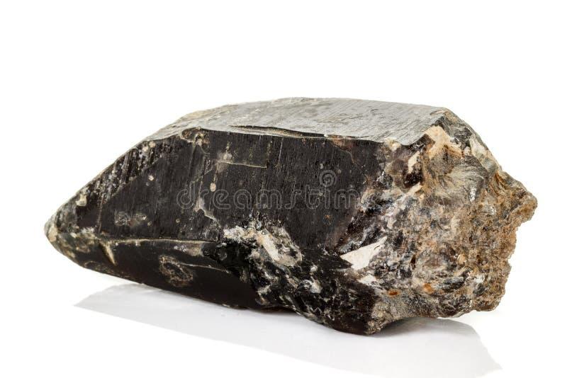 Morros камня макроса кварц минеральных закоптелый, rauchtopaz morion на белой предпосылке стоковые изображения
