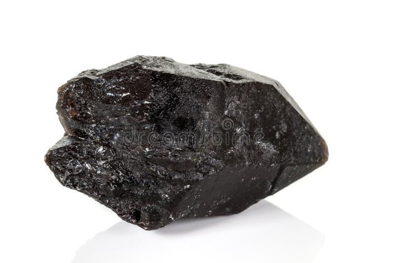 Morros камня макроса кварц минеральных закоптелый, rauchtopaz morion на белой предпосылке стоковое фото rf