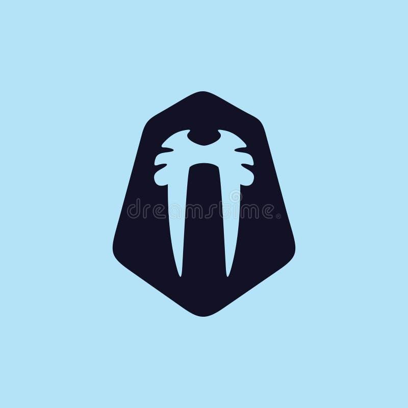 Morsa loga inspiracja dla zwierzęcej konserwaci, zwierzę strażnika i środowisko świadomości, ilustracja wektor