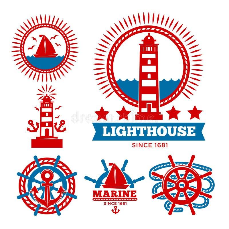 Morscy i nautyczni logów szablony lub heraldyczni symbole ilustracji