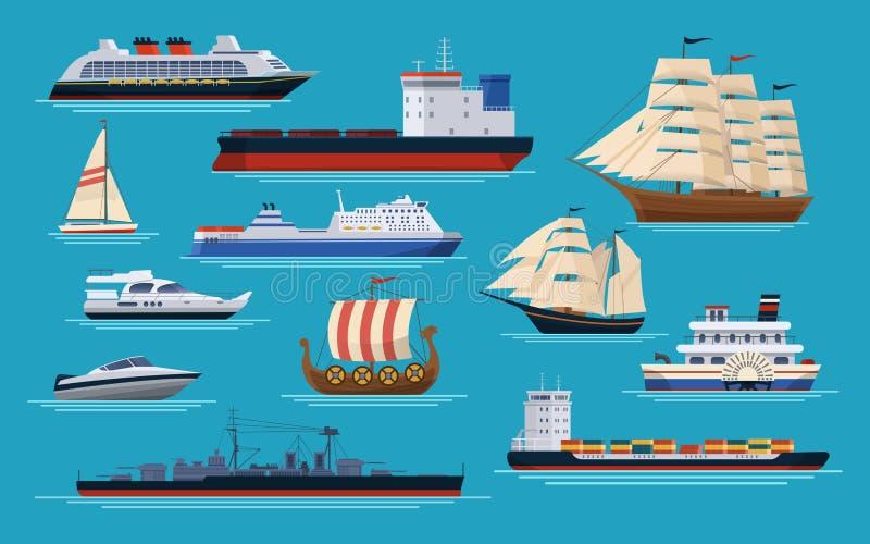 Morscy statki przy morzem, wysyła łodzie, oceanu transport ilustracji