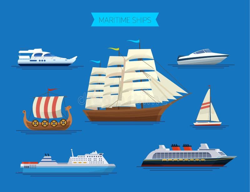 Morscy statki przy morzem, wysyła łodzie, oceanu transport royalty ilustracja