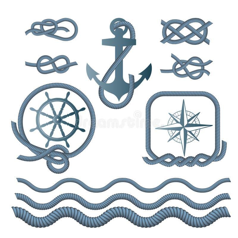 Morscy symbole - kompas, kotwica, linowa kępka, arkana royalty ilustracja