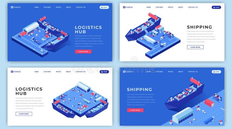 Morscy transporty ląduje strona układy ustawiających Wysyłki logistyki strony internetowej homepage interfejsu pomysł z isometric ilustracji