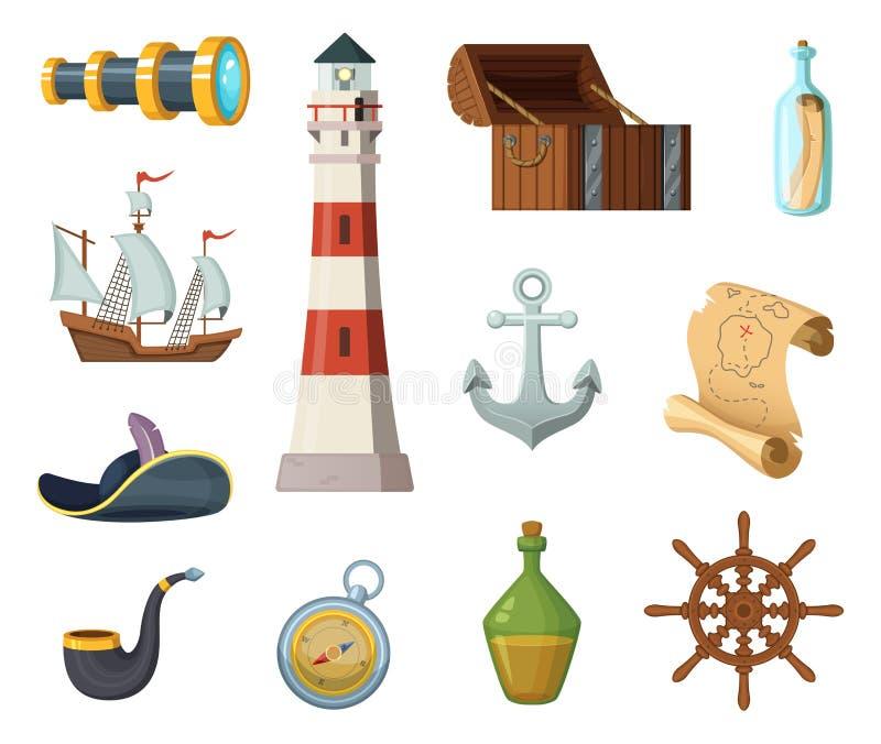 Morscy wektorów przedmioty Klatka piersiowa, kompas, skarb mapa i inni przedmioty w kreskówce, projektujemy ilustracja wektor