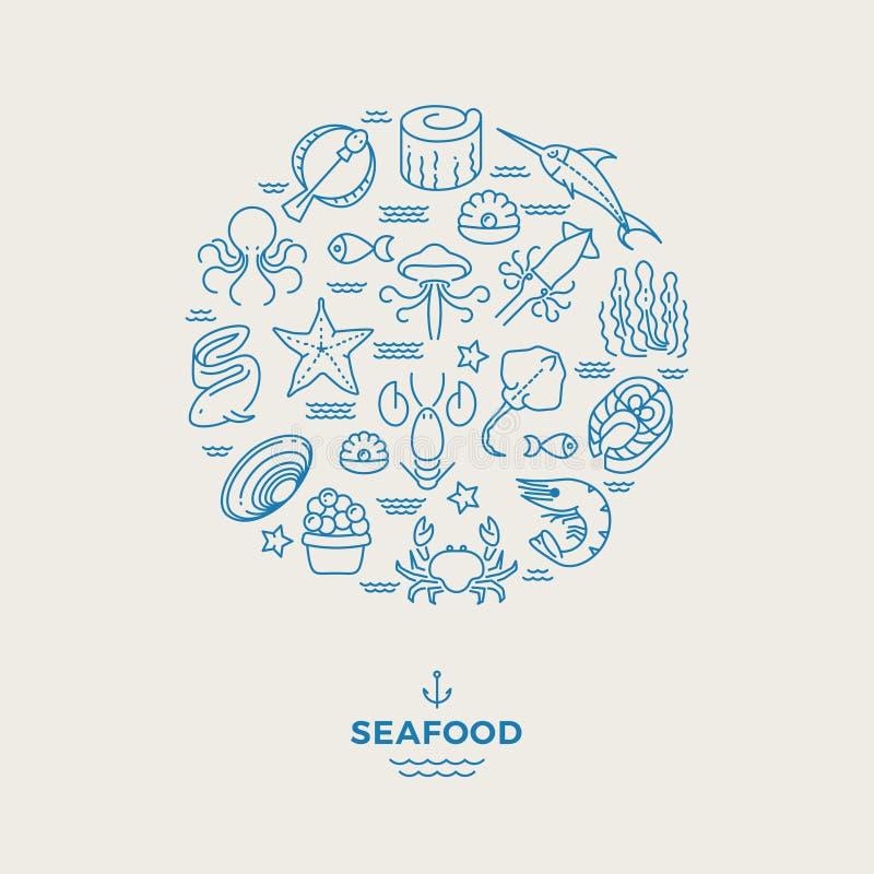 Morscy zwierzęta, owoce morza cienkie kreskowe ikony w okręgu projekcie Restauracyjny nowożytny logo ilustracja wektor